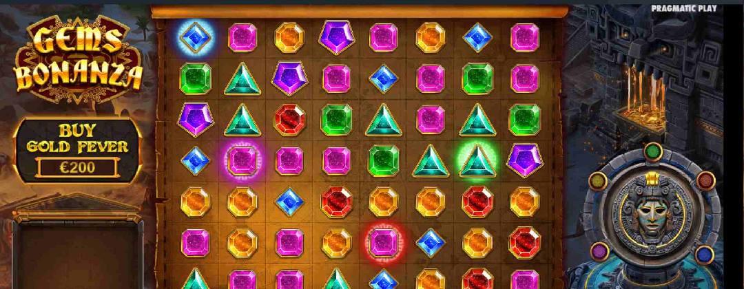 Screenshot of Gems Bonanza online slot game by Pragmatic Play.