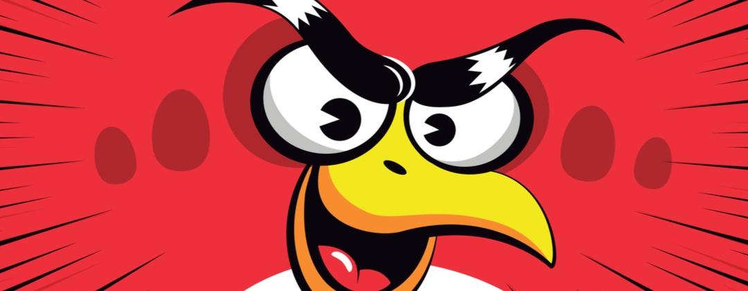 A cartoon illustration of an angry bird.